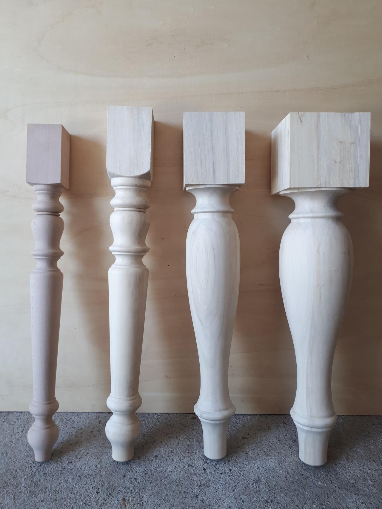 gambe in legno tornite commercio legname pregiato verona